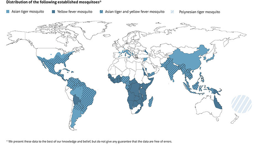 Easy Tiger World Map. Worldwide distribution of tiger mosquitoes Aedes albopictus  aegypti and polynesiensis The easy to deploy low cost BG GAT trap against