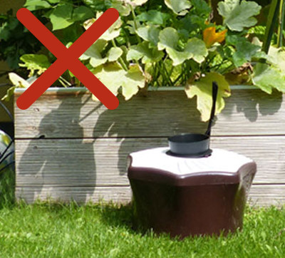 Never place the mosquito trap in sunny areas.